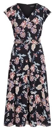 Lauren Ralph Lauren Ralph Lauren Floral Belted Crepe Midi Dress