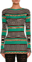Missoni Space-Dye Long-Sleeve Sweater, Green