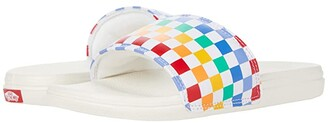Vans Kids La Costa Slide-On (Little Kid) ((Checkerboard) Rainbow/Marshmallow) Girl's Shoes