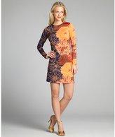 Julie Brown JB by orange tropical print jersey long sleeve 'Morgan' dress