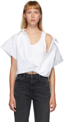 Alexander Wang White Falling Shoulder Cut-Off Shirt