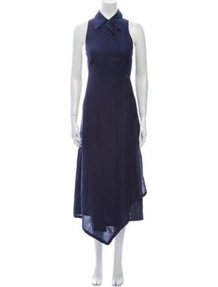 Max Mara Linen Midi Length Dress w/ Tags Blue