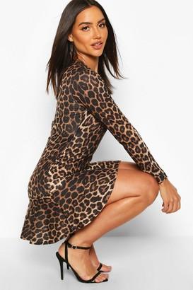 boohoo Leopard Long Sleeve Ruffle Hem Skater Dress