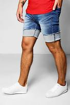 boohoo Mens Skinny Fit Denim Shorts with Bucket Turn Up