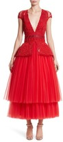 Naeem Khan Women's Embellished Tulle Peplum Dress
