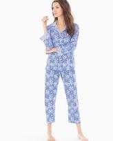 Soma Intimates Printed Pima Cotton Pajama Set Blue Diamond Grid