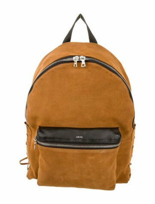 Amiri Leather-Trimmed Suede Backpack Brown