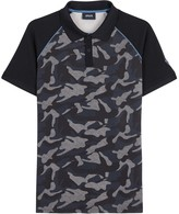 Armani Jeans Navy Camouflage Stretch Cotton Polo Shirt