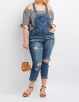 Charlotte Russe Plus Size Dollhouse Destroyed Denim Overalls