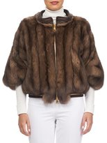 Gorski Sable Fur Zip-Front Jacket with Leather Trim