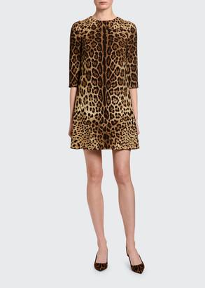 Dolce & Gabbana Leopard-Print Crepe 3/4-Sleeve Dress