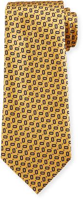 Ermenegildo Zegna Men's Small Rectangles Silk Tie, Yellow