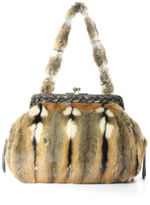 Sissi Rossi NEW SISSIROSSI Brown Tan Beige Fur Shoulder Handbag