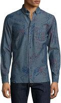 Wesc Onyx Bird-Print Chambray Sport Shirt, Blue