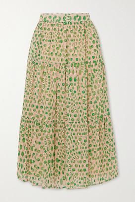 Paul & Joe Basilic Tiered Floral-print Cotton Midi Skirt - Green