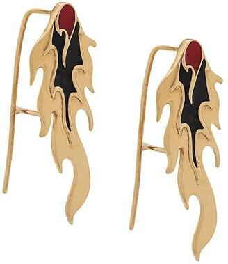 Alan Crocetti Enamelled Flame Earrings