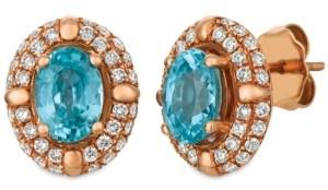 LeVian Le Vian Blue Zircon (2 5/8 ct.t.w.) and Nude Diamonds (1 ct.t.w.) Earrings set in 14k rose gold
