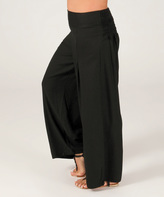 Aller Simplement Black Shirred Palazzo Pants - Plus