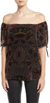 Alice + Olivia Alecia Paisley Velvet Off-the-Shoulder Top