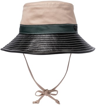 Maison Michel Angele canvas and leather bucket hat