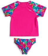 Speedo Girls 2-6x Girls Geometric Patterned Rash Guard and Swim Bottoms Set