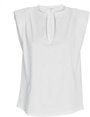 Frame Padded Shoulder V-Neck T-Shirt