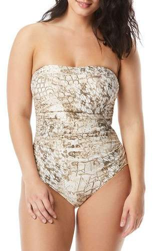 Coco Contours by Embellished Printed Bandeau One-Piece Swimsuit