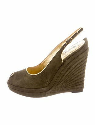 Saint Laurent Suede Ankle-Strap Wedges Olive