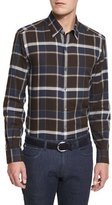 Ermenegildo Zegna Large-Plaid Long-Sleeve Sport Shirt, Brown Pattern