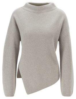 BOSS Relaxed-fit cashmere sweater with asymmetrical front