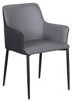 Maghull Leather Upholstered Upholstered Solid Back Arm Chair in Gray Wrought Studio