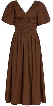STAUD Greta Puff-Sleeve Midi Dress