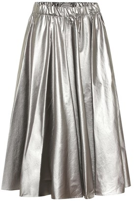 Moncler Coated cotton midi skirt