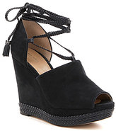MICHAEL Michael Kors Hastings Suede Ankle Wrap Peep Toe Wedge Sandals