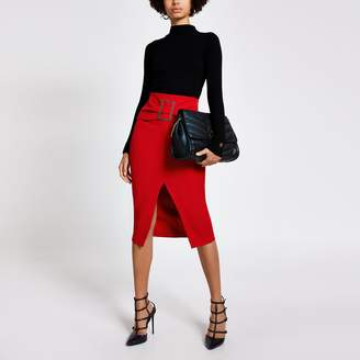 River Island Womens Red buckle front midi pencil skirt