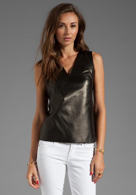 Vince Silk Back V-Neck Leather Shell
