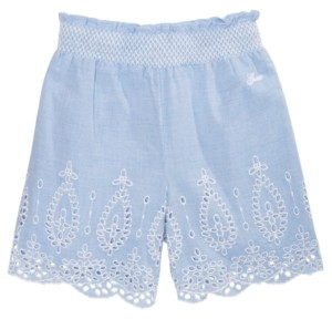 GUESS Big Girls Embroidered Eyelet Chambray Cotton Shorts