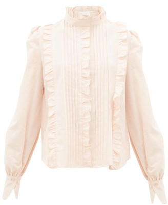 See by Chloe Pintucked Ruffle-trim Cotton Victoriana Blouse - Womens - Light Pink