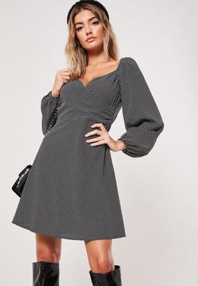 Missguided Black Polka Dot Print Milkmaid Wrap Mini Dress