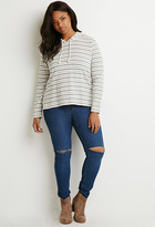 Forever 21 Plus Size Striped Drawstring Hoodie