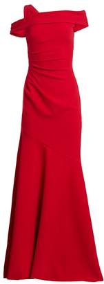 Theia One-Shoulder Ruched Crepe Gown