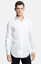 Armani Collezioni Men's Modern Fit Geometric Textured Sport Shirt