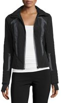Blanc Noir Wind-Resistant Colorblock Jacket, Black