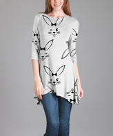 Lily Black & White Bunny Three-Quarter Sleeve Tunic - Plus Too
