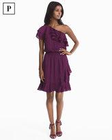 White House Black Market Petite One-Shoulder Ruffle Dress