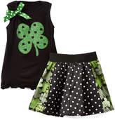 Beary Basics Black Clover Tank & Dot Skirt - Toddler & Girls