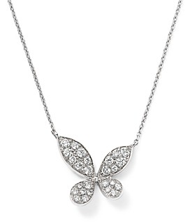 Bloomingdale's Diamond Pave Butterfly Pendant Necklace in 14K White Gold, 0.35 ct. t.w.