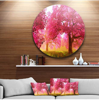 "Designart 'Mysterious Red Cherry Blossoms' Disc Large Landscape Metal Circle Wall Art - 23"" x 23"""