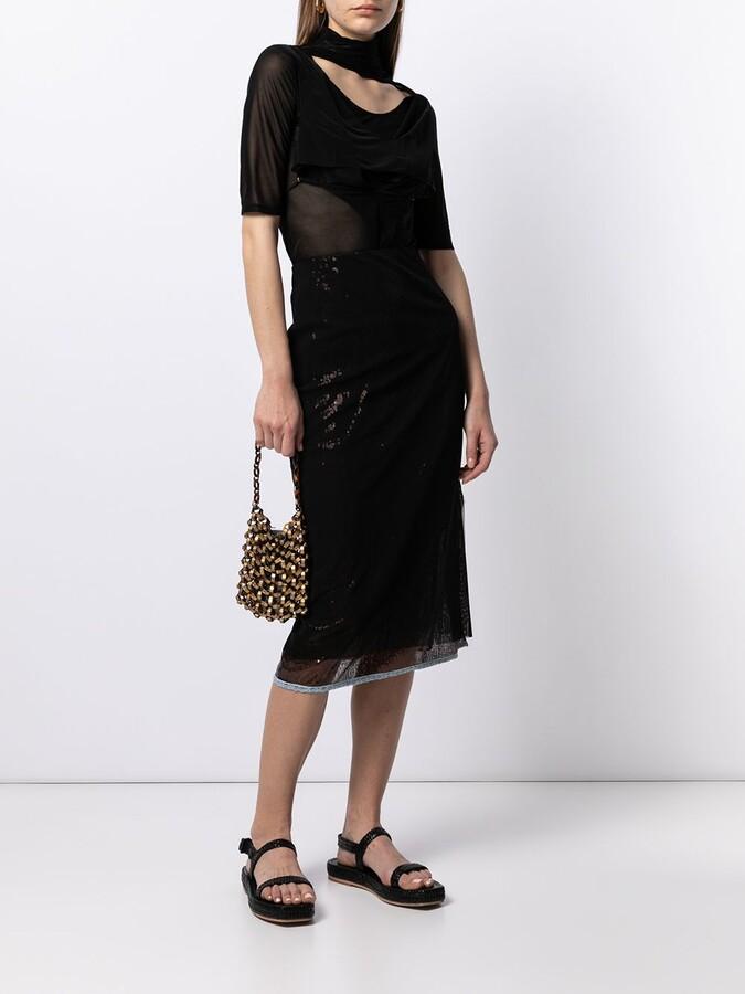 Thumbnail for your product : Supriya Lele Sheer-Panel Midi Dress