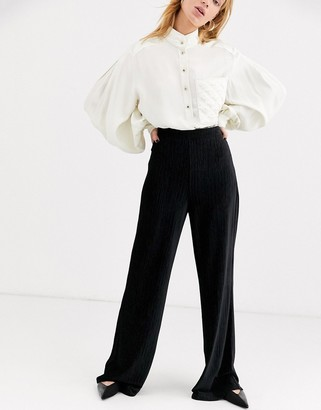 And other stories & plisse wide leg pants in black